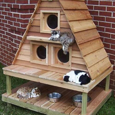 Cat mansion made from wood pallets