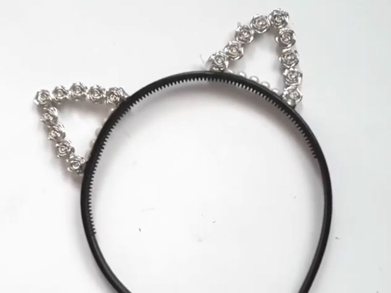 headband with bedazzled cat ears